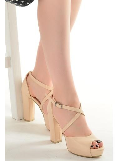 Ayakland Ayakland 3210-2058 Cilt Abiye 11 Cm Platform Topuk Bayan Sandalet Ayakkabı Ten